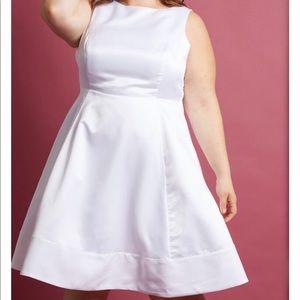 ModCloth A-Line White Wedding Dress Bow Back 2X